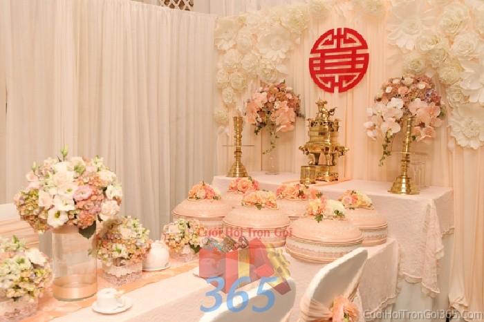 Trang trí nhà cưới hỏi tông màu hồng pastel mẫu ấn tượng, cao cấp cho ngày lễ đính hôn, ăn hỏi gia tiên, đám TTNCH51 : Mẫu cưới hỏi trọn gói 365 của công ty dịch vụ trang trí nhà tiệc cưới hỏi đẹp rẻ uy tín ở tại quận Tân Phú Sài Gòn TPHCM Gò Vấp