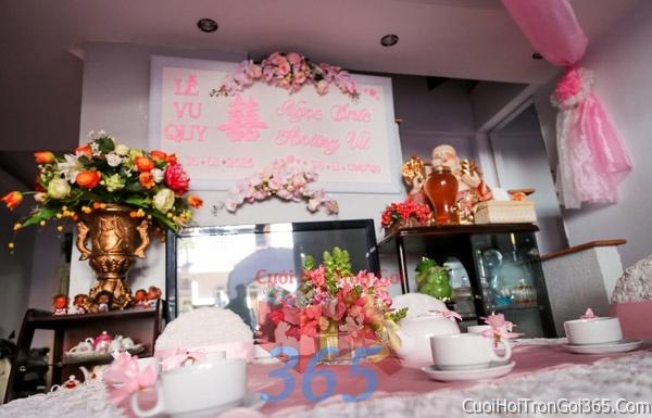 Trang trí nhà cưới hỏi tông màu hồng phấn cho ngày lễ đính hôn, ăn hỏi gia tiên, đám cưới TTNCH17 : Mẫu cưới hỏi trọn gói 365 của công ty dịch vụ trang trí nhà tiệc cưới hỏi đẹp rẻ uy tín ở tại quận Tân Phú Sài Gòn TPHCM Gò Vấp