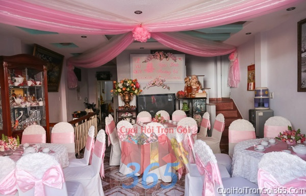 Trang trí nhà cưới hỏi tông màu hồng phấn cho ngày lễ đính hôn, ăn hỏi gia tiên, đám cưới TTNCH19 : Mẫu cưới hỏi trọn gói 365 của công ty dịch vụ trang trí nhà tiệc cưới hỏi đẹp rẻ uy tín ở tại quận Tân Phú Sài Gòn TPHCM Gò Vấp