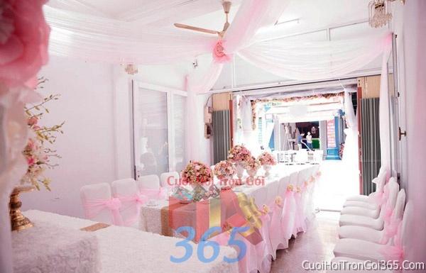 Trang trí nhà cưới hỏi tông màu hồng phấn cho ngày lễ đính hôn, ăn hỏi gia tiên, đám cưới TTNCH21 : Mẫu cưới hỏi trọn gói 365 của công ty dịch vụ trang trí nhà tiệc cưới hỏi đẹp rẻ uy tín ở tại quận Tân Phú Sài Gòn TPHCM Gò Vấp