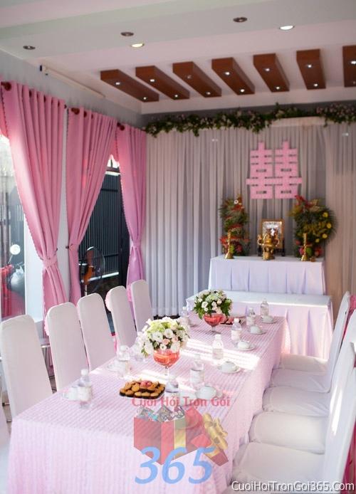 Trang trí nhà cưới hỏi tông màu hồng phấn cho ngày lễ đính hôn, ăn hỏi gia tiên, đám cưới TTNCH22 : Mẫu cưới hỏi trọn gói 365 của công ty dịch vụ trang trí nhà tiệc cưới hỏi đẹp rẻ uy tín ở tại quận Tân Phú Sài Gòn TPHCM Gò Vấp