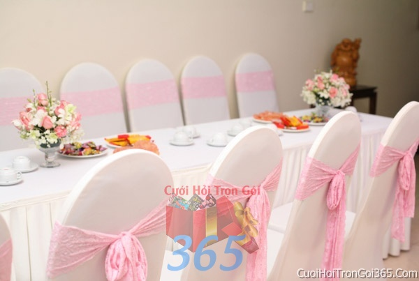 dịch vụ cưới hỏi trọn gói - Trang trí nhà cưới hỏi tông màu hồng phấn hồng phấn cho ngày lễ đính hôn, ăn hỏi gia tiên, đám cướiTTNCH24