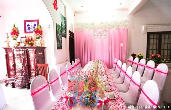 Trang trí nhà cưới hỏi tông màu hồng sen pastel cho ngày lễ đính hôn, ăn hỏi gia tiên, đám cướiTTNCH30 : Mẫu cưới hỏi trọn gói 365 của công ty dịch vụ trang trí nhà tiệc cưới hỏi đẹp rẻ uy tín ở tại quận Tân Phú Sài Gòn TPHCM Gò Vấp