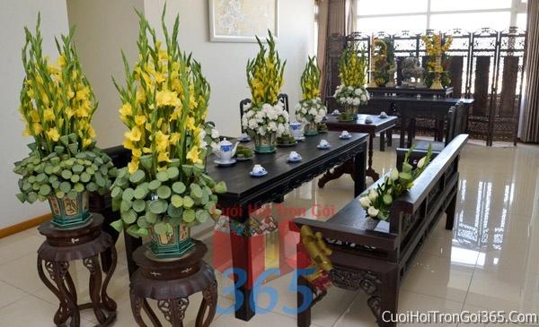 Trang trí nhà cưới hỏi tông màu vàng cho ngày lễ đính hôn, ăn hỏi gia tiên, đám cưới TTNCH34 : Mẫu cưới hỏi trọn gói 365 của công ty dịch vụ trang trí nhà tiệc cưới hỏi đẹp rẻ uy tín ở tại quận Tân Phú Sài Gòn TPHCM Gò Vấp