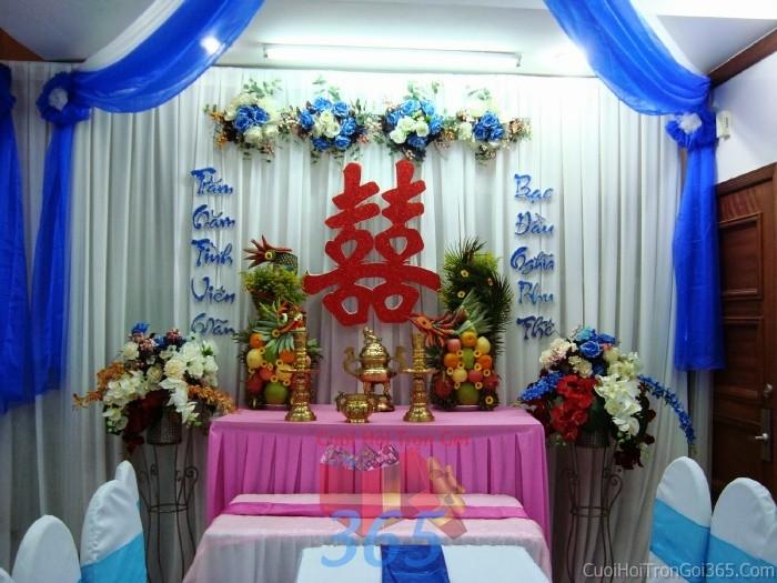 Trang trí nhà cưới hỏi tông màu xanh dương mẫu voan, hoa vải cho ngày lễ đính hôn, ăn hỏi gia tiên, đám TTNCH53 : Mẫu cưới hỏi trọn gói 365 của công ty dịch vụ trang trí nhà tiệc cưới hỏi đẹp rẻ uy tín ở tại quận Tân Phú Sài Gòn TPHCM Gò Vấp