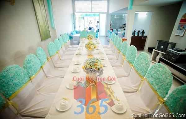 Trang trí nhà cưới hỏi tông màu xanh lam cho ngày lễ đính hôn, ăn hỏi gia tiên, đám cưới TTNCH36 : Mẫu cưới hỏi trọn gói 365 của công ty dịch vụ trang trí nhà tiệc cưới hỏi đẹp rẻ uy tín ở tại quận Tân Phú Sài Gòn TPHCM Gò Vấp