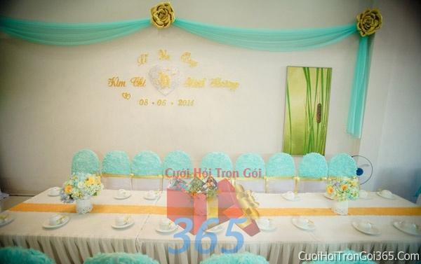 Trang trí nhà cưới hỏi tông màu xanh ngọc cho ngày lễ đính hôn, ăn hỏi gia tiên, đám cưới TTNCH37 : Mẫu cưới hỏi trọn gói 365 của công ty dịch vụ trang trí nhà tiệc cưới hỏi đẹp rẻ uy tín ở tại quận Tân Phú Sài Gòn TPHCM Gò Vấp