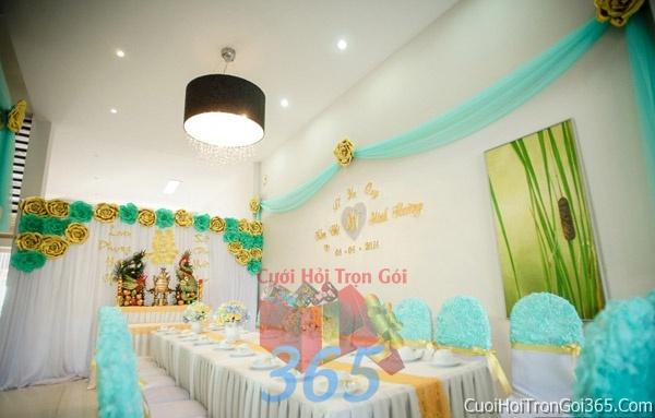 Trang trí nhà cưới hỏi tông màu xanh ngọc cho ngày lễ đính hôn, ăn hỏi gia tiên, đám cưới TTNCH38 : Mẫu cưới hỏi trọn gói 365 của công ty dịch vụ trang trí nhà tiệc cưới hỏi đẹp rẻ uy tín ở tại quận Tân Phú Sài Gòn TPHCM Gò Vấp