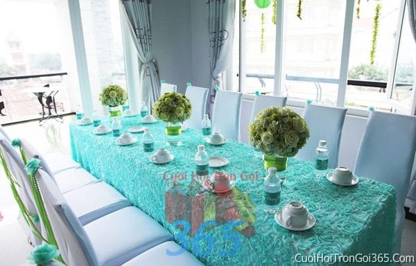 Trang trí nhà cưới hỏi tông màu xanh ngọc cho ngày lễ đính hôn, ăn hỏi gia tiên, đám cướiTTNCH39 : Mẫu cưới hỏi trọn gói 365 của công ty dịch vụ trang trí nhà tiệc cưới hỏi đẹp rẻ uy tín ở tại quận Tân Phú Sài Gòn TPHCM Gò Vấp