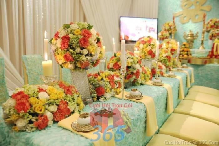Trang trí nhà cưới hỏi tông màu xanh ngọc kết hợp vàng đồng với vải nhung cao cấp, sang trọng cho ngày lễ đính hôn, ăn hỏi gia tiên, đám TTNCH54 : Mẫu cưới hỏi trọn gói 365 của công ty dịch vụ trang trí nhà tiệc cưới hỏi đẹp rẻ uy tín ở tại quận Tân Phú Sài Gòn TPHCM Gò Vấp