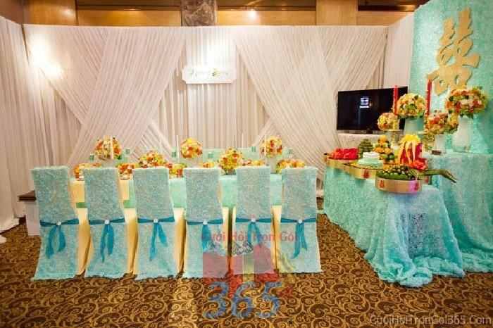 Trang trí nhà cưới hỏi tông màu xanh ngọc mẫu cho ngày lễ đính hôn, ăn hỏi gia tiên, đám TTNCH55 : Mẫu cưới hỏi trọn gói 365 của công ty dịch vụ trang trí nhà tiệc cưới hỏi đẹp rẻ uy tín ở tại quận Tân Phú Sài Gòn TPHCM Gò Vấp