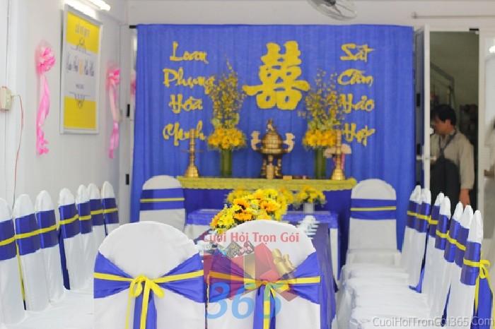 Trang trí nhà cưới hỏi tông tông xanh dương kết hợp vàng ngọt ngào hiện đại, mới lạ cho ngày lễ đính hôn, ăn hỏi gia tiên, đám TTNCH57 : Mẫu cưới hỏi trọn gói 365 của công ty dịch vụ trang trí nhà tiệc cưới hỏi đẹp rẻ uy tín ở tại quận Tân Phú Sài Gòn TPHCM Gò Vấp