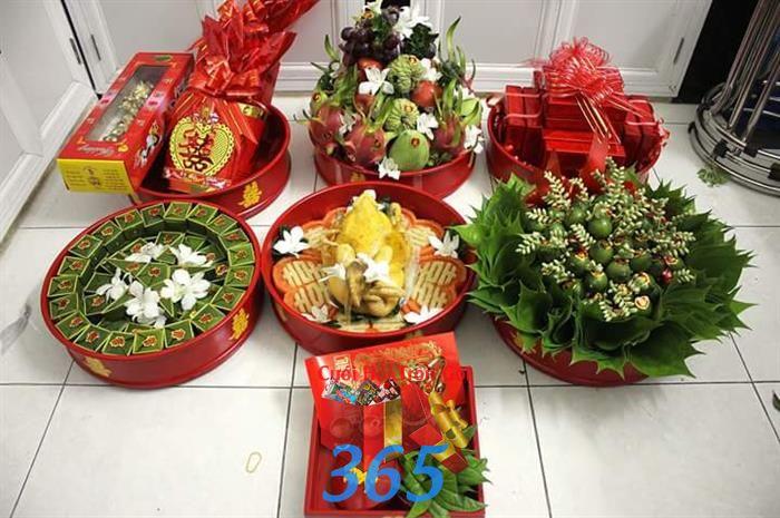 Trọn bộ mâm quả ngày cưới : Mẫu cưới hỏi trọn gói 365 của công ty dịch vụ trang trí nhà tiệc cưới hỏi đẹp rẻ uy tín ở tại quận Tân Phú Sài Gòn TPHCM Gò Vấp