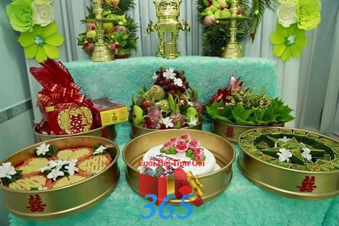Mâm quả cưới hỏi trọn gói : Mẫu cưới hỏi trọn gói 365 của công ty dịch vụ trang trí nhà tiệc cưới hỏi đẹp rẻ uy tín ở tại quận Tân Phú Sài Gòn TPHCM Gò Vấp