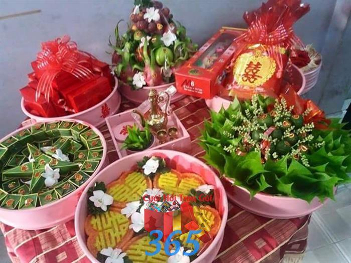 Mâm lễ vật ngày cưới trọn gói : Mẫu cưới hỏi trọn gói 365 của công ty dịch vụ trang trí nhà tiệc cưới hỏi đẹp rẻ uy tín ở tại quận Tân Phú Sài Gòn TPHCM Gò Vấp