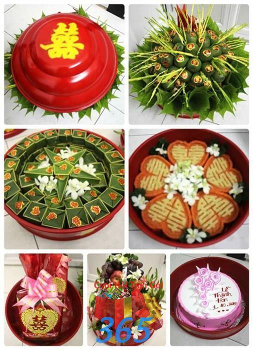 Trọn bộ lễ vật ngày cưới : Mẫu cưới hỏi trọn gói 365 của công ty dịch vụ trang trí nhà tiệc cưới hỏi đẹp rẻ uy tín ở tại quận Tân Phú Sài Gòn TPHCM Gò Vấp