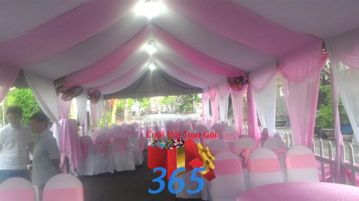 Cho thuê rạp cưới voan tông hồng : Mẫu cưới hỏi trọn gói 365 của công ty dịch vụ trang trí nhà tiệc cưới hỏi đẹp rẻ uy tín ở tại quận Tân Phú Sài Gòn TPHCM Gò Vấp