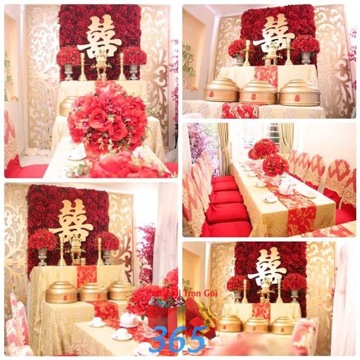 Trang trí nhà ngày cưới hỏi tông vàng đỏ kết hoa tươi sang trọng : Mẫu cưới hỏi trọn gói 365 của công ty dịch vụ trang trí nhà tiệc cưới hỏi đẹp rẻ uy tín ở tại quận Tân Phú Sài Gòn TPHCM Gò Vấp