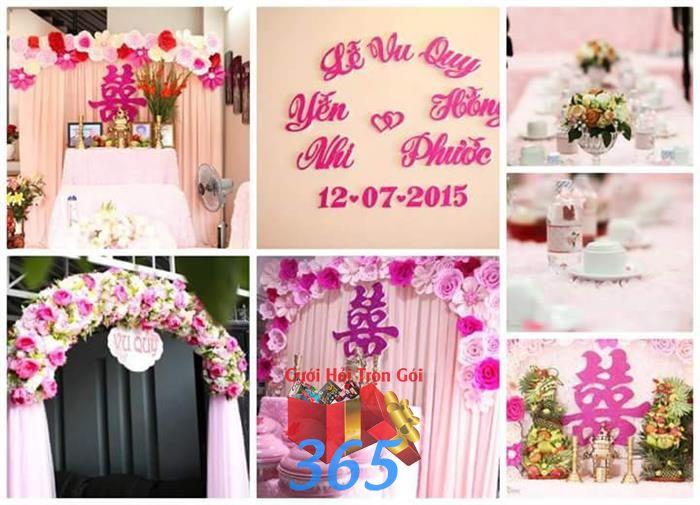 dịch vụ cưới hỏi trọn gói - Trang trí nhà cưới hỏi hoa giấy tông hồng