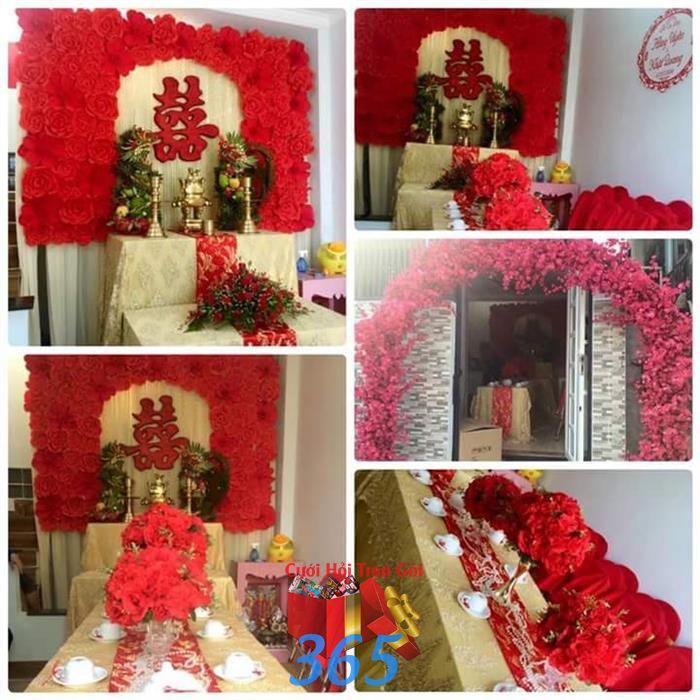 Trang trí nhà cưới hỏi tông đỏ rực rỡ : Mẫu cưới hỏi trọn gói 365 của công ty dịch vụ trang trí nhà tiệc cưới hỏi đẹp rẻ uy tín ở tại quận Tân Phú Sài Gòn TPHCM Gò Vấp