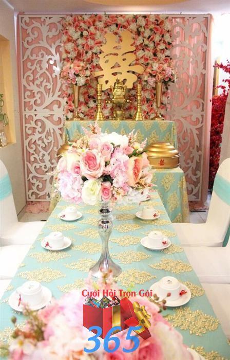 Trang trí nhà cưới hỏi trọn gói với không gian tiệc cưới ngọt ngào tông trắng xanh ngọc : Mẫu cưới hỏi trọn gói 365 của công ty dịch vụ trang trí nhà tiệc cưới hỏi đẹp rẻ uy tín ở tại quận Tân Phú Sài Gòn TPHCM Gò Vấp