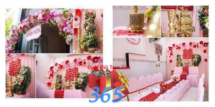 Trang trí nhà cưới hỏi tông hồng phấn nhẹ nhàng : Mẫu cưới hỏi trọn gói 365 của công ty dịch vụ trang trí nhà tiệc cưới hỏi đẹp rẻ uy tín ở tại quận Tân Phú Sài Gòn TPHCM Gò Vấp