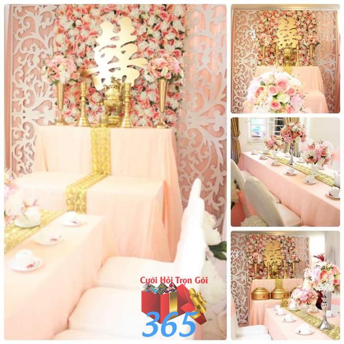 Trang trí nhà cưới hỏi tông hồng pastel : Mẫu cưới hỏi trọn gói 365 của công ty dịch vụ trang trí nhà tiệc cưới hỏi đẹp rẻ uy tín ở tại quận Tân Phú Sài Gòn TPHCM Gò Vấp
