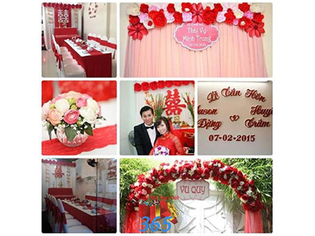 Trang trí nhà cưới hỏi tông màu đỏ song hỷ cho ngày lễ đính hôn, ăn hỏi gia tiên, đám cưới TTNCH47 : Mẫu cưới hỏi trọn gói 365 của công ty dịch vụ trang trí nhà tiệc cưới hỏi đẹp rẻ uy tín ở tại quận Tân Phú Sài Gòn TPHCM Gò Vấp