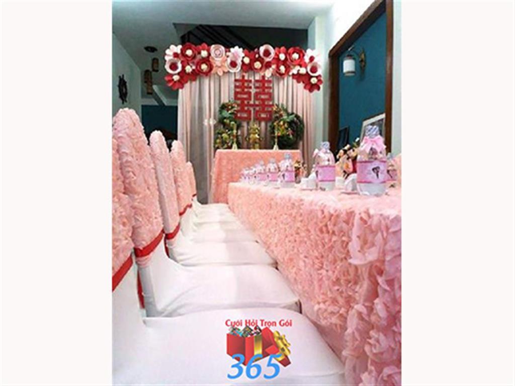 Trang trí nhà cưới hỏi tông màu hồng sen pastel cho ngày lễ đính hôn, ăn hỏi gia tiên, đám cưới TTNCH25 : Mẫu cưới hỏi trọn gói 365 của công ty dịch vụ trang trí nhà tiệc cưới hỏi đẹp rẻ uy tín ở tại quận Tân Phú Sài Gòn TPHCM Gò Vấp