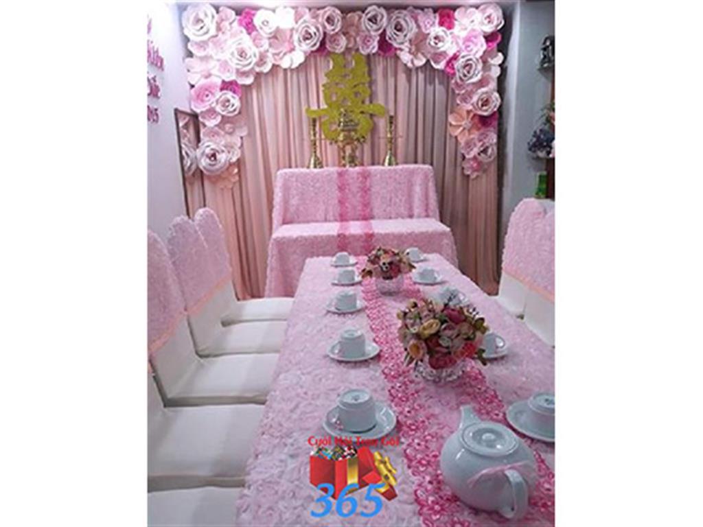 Trang trí nhà cưới hỏi tông màu hồng sen pastel cho ngày lễ đính hôn, ăn hỏi gia tiên, đám cưới TTNCH27 : Mẫu cưới hỏi trọn gói 365 của công ty dịch vụ trang trí nhà tiệc cưới hỏi đẹp rẻ uy tín ở tại quận Tân Phú Sài Gòn TPHCM Gò Vấp