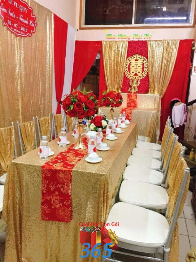 Hoa để bàn lễ gia  HDB43 : Mẫu cưới hỏi trọn gói 365 của công ty dịch vụ trang trí nhà tiệc cưới hỏi đẹp rẻ uy tín ở tại quận Tân Phú Sài Gòn TPHCM Gò Vấp