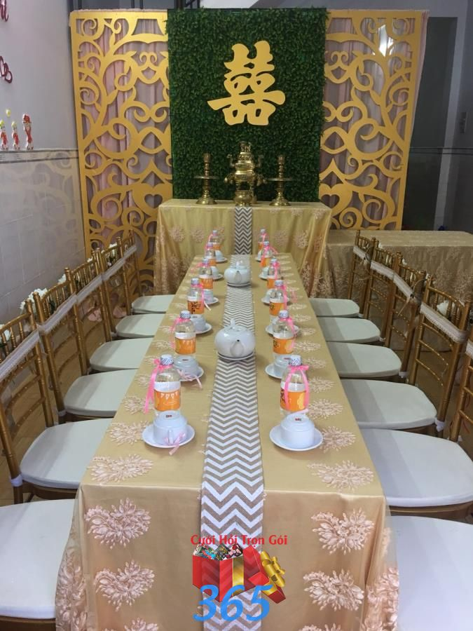 dịch vụ cưới hỏi trọn gói - Trang trí nhà cưới hỏi trọn gói với gam màu vàng đồng tươi  TTNCH165