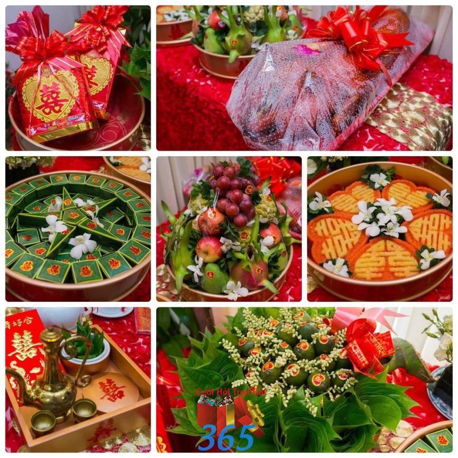 Trọn gói 6 mâm quả lễ vật cưới hỏi bày trí đẹp MQ70 : Mẫu cưới hỏi trọn gói 365 của công ty dịch vụ trang trí nhà tiệc cưới hỏi đẹp rẻ uy tín ở tại quận Tân Phú Sài Gòn TPHCM Gò Vấp