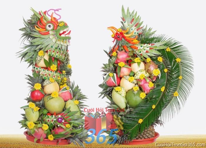 Cặp rồng phụng long phượng kết từ trái cây tươi ngon chưng đẹp bàn thờ gia tiên ngày lễ ăn hỏi đám  RPTC12 : Mẫu cưới hỏi trọn gói 365 của công ty dịch vụ trang trí nhà tiệc cưới hỏi đẹp rẻ uy tín ở tại quận Tân Phú Sài Gòn TPHCM Gò Vấp