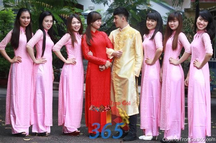 Cho thuê áo dài bưng quả, đồng phục phụ dâu tông màu hồng nhạt cho đám cưới, ngày lễ đính DP20 : Mẫu cưới hỏi trọn gói 365 của công ty dịch vụ trang trí nhà tiệc cưới hỏi đẹp rẻ uy tín ở tại quận Tân Phú Sài Gòn TPHCM Gò Vấp
