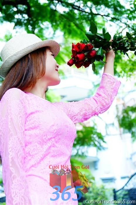 Cho thuê áo dài bưng quả, đồng phục phụ dâu tông màu hồng phấn nữ tính cho đám cưới, ngày lễ đính DP23 : Mẫu cưới hỏi trọn gói 365 của công ty dịch vụ trang trí nhà tiệc cưới hỏi đẹp rẻ uy tín ở tại quận Tân Phú Sài Gòn TPHCM Gò Vấp