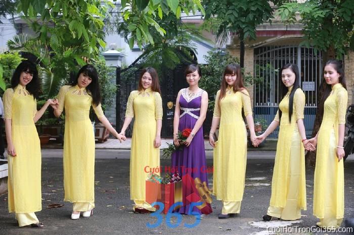 Cho thuê áo dài bưng quả, đồng phục phụ dâu tông màu vàng và váy dạ hội tím đám cưới, ngày lễ đính DP29 : Mẫu cưới hỏi trọn gói 365 của công ty dịch vụ trang trí nhà tiệc cưới hỏi đẹp rẻ uy tín ở tại quận Tân Phú Sài Gòn TPHCM Gò Vấp