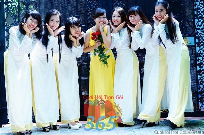 Cho thuê áo dài bưng quả, đồng phục phụ dâu váy dạ hội màu vàng cho đám cưới, ngày lễ đính DP34 : Mẫu cưới hỏi trọn gói 365 của công ty dịch vụ trang trí nhà tiệc cưới hỏi đẹp rẻ uy tín ở tại quận Tân Phú Sài Gòn TPHCM Gò Vấp