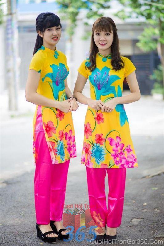 Cho thuê áo dài bưng quả và đồng phục phụ dâu mẫu mới đẹp, tươi trẻ  DP69 : Mẫu cưới hỏi trọn gói 365 của công ty dịch vụ trang trí nhà tiệc cưới hỏi đẹp rẻ uy tín ở tại quận Tân Phú Sài Gòn TPHCM Gò Vấp