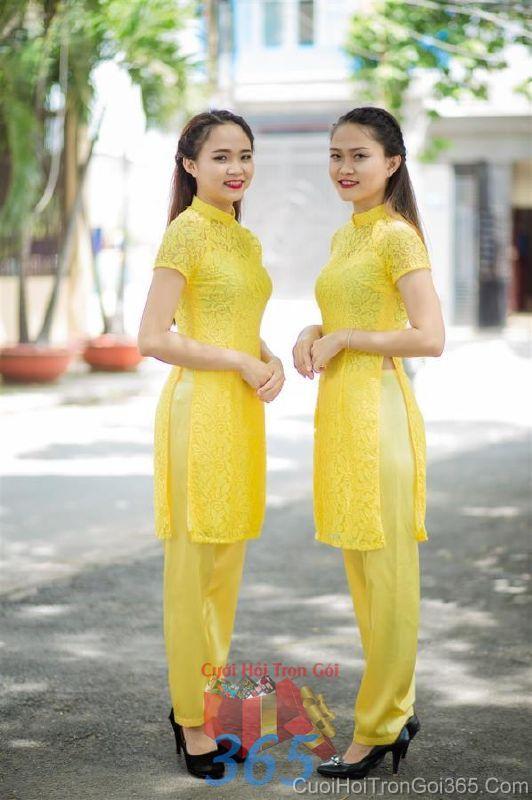 Cho thuê áo dài bưng quả và đồng phục phụ dâu mẫu mới đẹp, tươi trẻ  DP70 : Mẫu cưới hỏi trọn gói 365 của công ty dịch vụ trang trí nhà tiệc cưới hỏi đẹp rẻ uy tín ở tại quận Tân Phú Sài Gòn TPHCM Gò Vấp