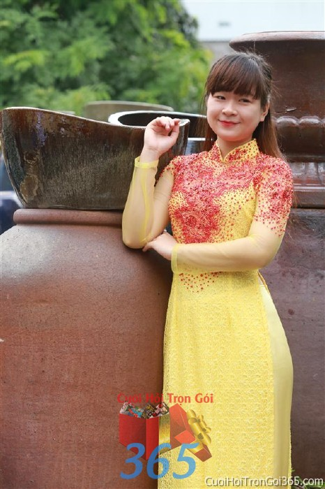Cho thuê áo dài cô dâu cưới tông đỏ vàng cho đám cưới, ngày lễ đính DP35 : Mẫu cưới hỏi trọn gói 365 của công ty dịch vụ trang trí nhà tiệc cưới hỏi đẹp rẻ uy tín ở tại quận Tân Phú Sài Gòn TPHCM Gò Vấp
