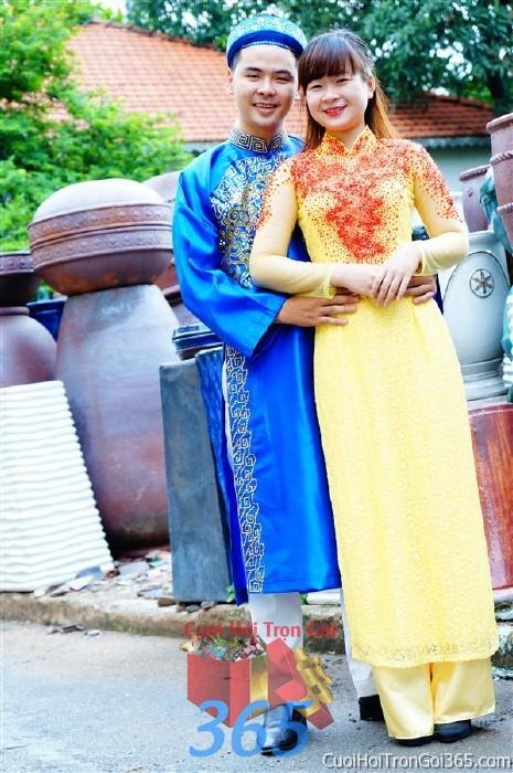 Cho thuê áo dài cô dâu màu vàng điểm cưởm đỏ cho đám cưới, ngày lễ đính DP36 : Mẫu cưới hỏi trọn gói 365 của công ty dịch vụ trang trí nhà tiệc cưới hỏi đẹp rẻ uy tín ở tại quận Tân Phú Sài Gòn TPHCM Gò Vấp