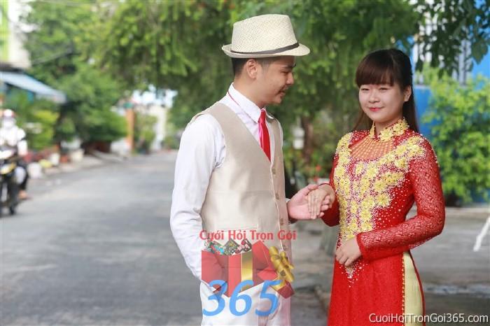 Cho thuê áo dài cưới cô dâu đỏ truyền thống cho đám cưới, ngày lễ đính DP42 : Mẫu cưới hỏi trọn gói 365 của công ty dịch vụ trang trí nhà tiệc cưới hỏi đẹp rẻ uy tín ở tại quận Tân Phú Sài Gòn TPHCM Gò Vấp