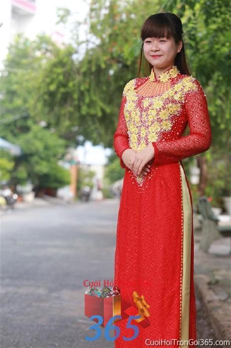 Cho thuê áo dài cưới cô dâu đỏ vàng cho đám cưới, ngày lễ đính DP43 : Mẫu cưới hỏi trọn gói 365 của công ty dịch vụ trang trí nhà tiệc cưới hỏi đẹp rẻ uy tín ở tại quận Tân Phú Sài Gòn TPHCM Gò Vấp