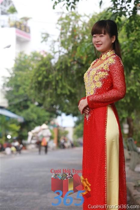 Cho thuê áo dài cưới cô dâu đỏ vàng đằm thắm cho đám cưới, ngày lễ đính DP44 : Mẫu cưới hỏi trọn gói 365 của công ty dịch vụ trang trí nhà tiệc cưới hỏi đẹp rẻ uy tín ở tại quận Tân Phú Sài Gòn TPHCM Gò Vấp