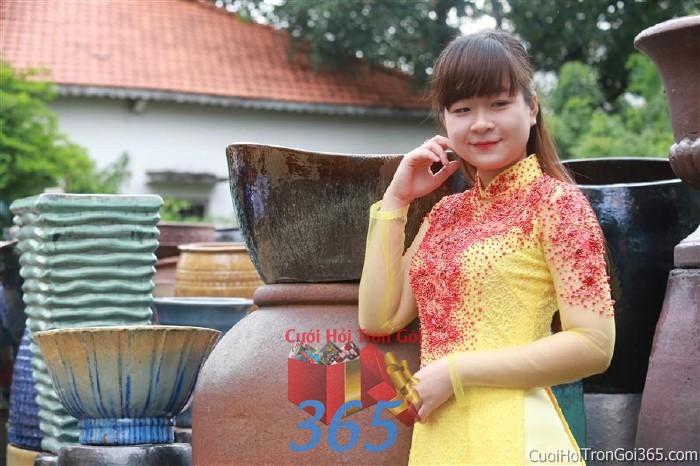 Cho thuê áo dài cưới cô dâu tông đỏ vàng cho đám cưới, ngày lễ đính DP41 : Mẫu cưới hỏi trọn gói 365 của công ty dịch vụ trang trí nhà tiệc cưới hỏi đẹp rẻ uy tín ở tại quận Tân Phú Sài Gòn TPHCM Gò Vấp