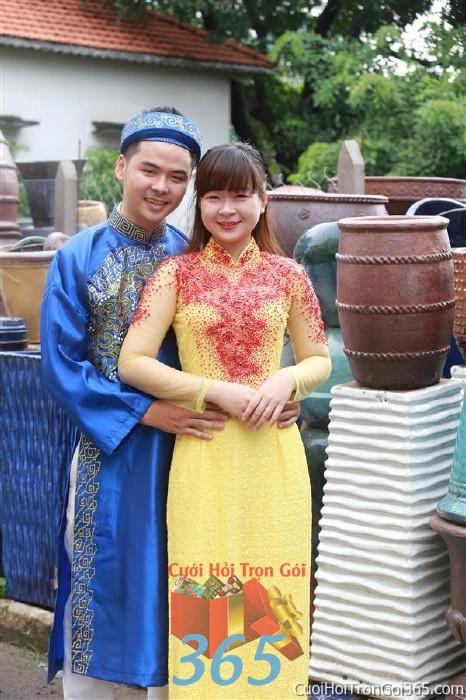 Cho thuê áo dài cưới cô dâu tông vàng đỏ cho đám cưới, ngày lễ đính DP40 : Mẫu cưới hỏi trọn gói 365 của công ty dịch vụ trang trí nhà tiệc cưới hỏi đẹp rẻ uy tín ở tại quận Tân Phú Sài Gòn TPHCM Gò Vấp