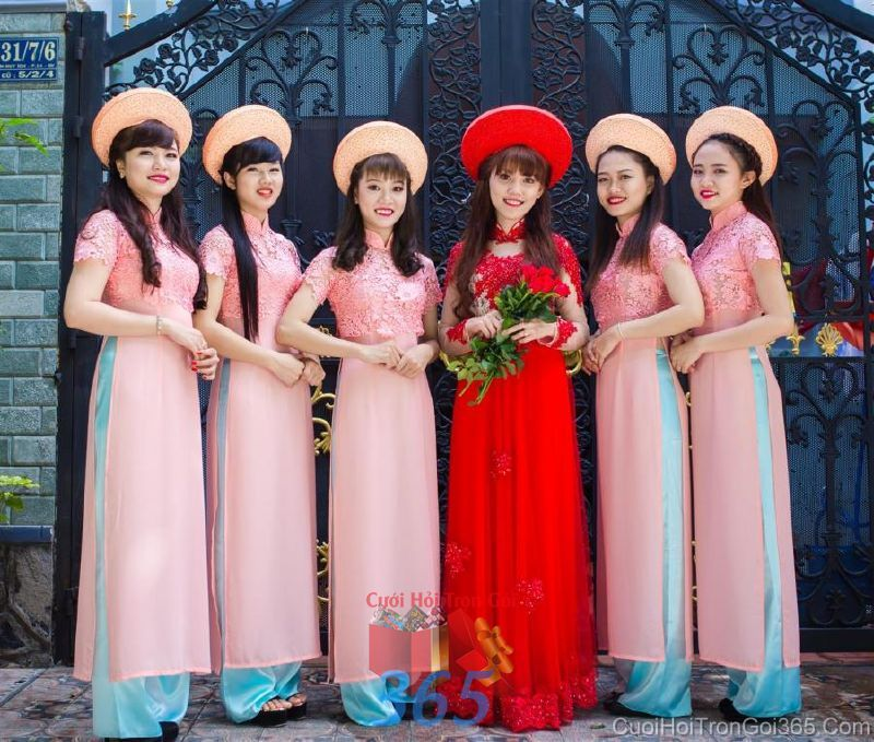 dịch vụ cưới hỏi trọn gói - Cho thuê áo dài cưới cô dâu và đồng phục phụ dâu  DP82