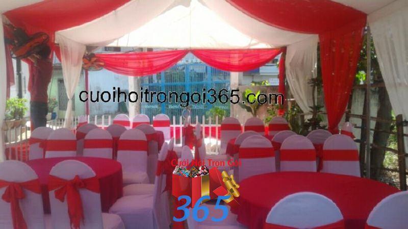 Cho thuê bàn ghế dựa màu đỏ đãi tiệc đám cưới sự kiện BG22 : Mẫu cưới hỏi trọn gói 365 của công ty dịch vụ trang trí nhà tiệc cưới hỏi đẹp rẻ uy tín ở tại quận Tân Phú Sài Gòn TPHCM Gò Vấp