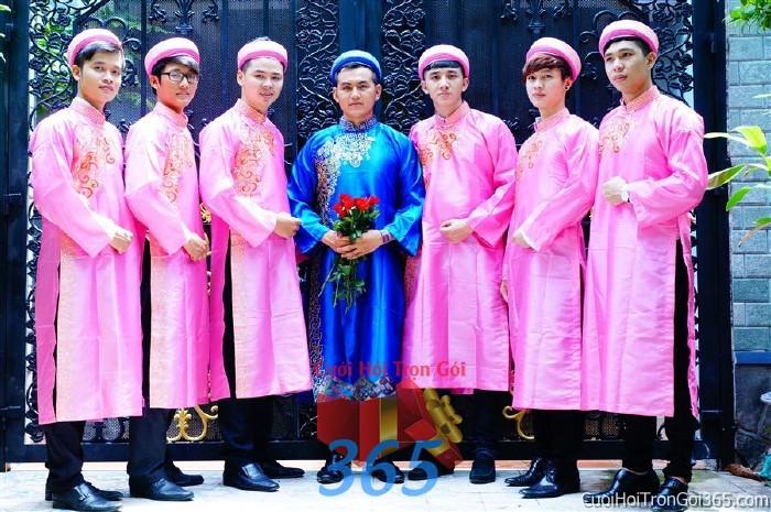 Cho thuê đội ngũ nhân sự nam bưng quả với đồng phục áo dài hồng cho ngày đám cưới, lễ ăn BQNA18 : Mẫu cưới hỏi trọn gói 365 của công ty dịch vụ trang trí nhà tiệc cưới hỏi đẹp rẻ uy tín ở tại quận Tân Phú Sài Gòn TPHCM Gò Vấp